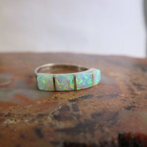 Old Pawn Sterling Faux Opal Zuni Inlay Band Ring
